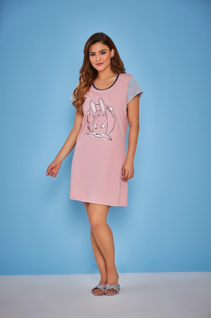 Camisola feminina póa coelho manga 100% algodão fresquinha