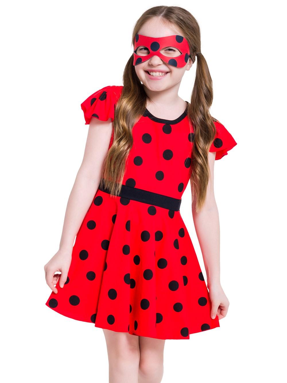 Camisola infantil lady bug menina manguinha mascara brinde