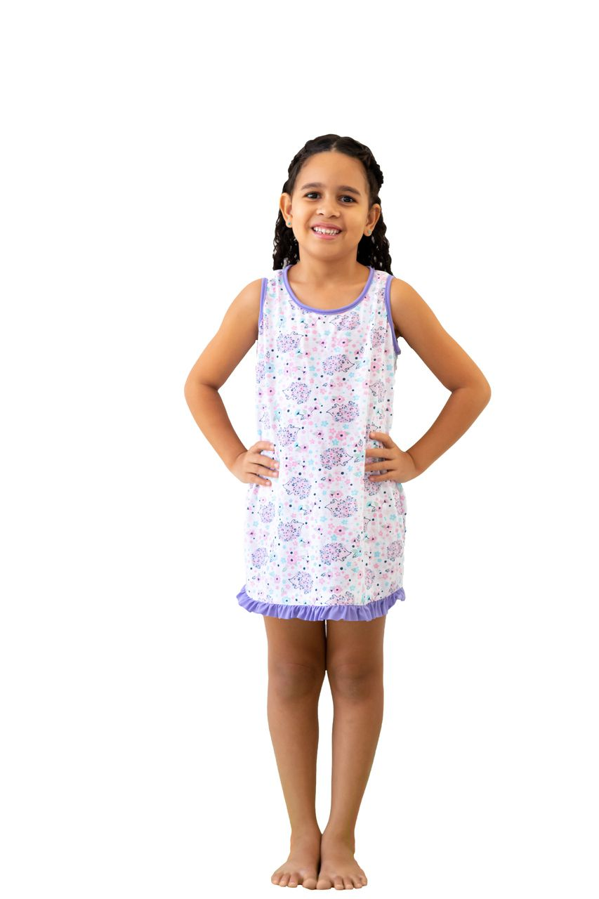 Camisola infantil pijama regata sem manga princesas