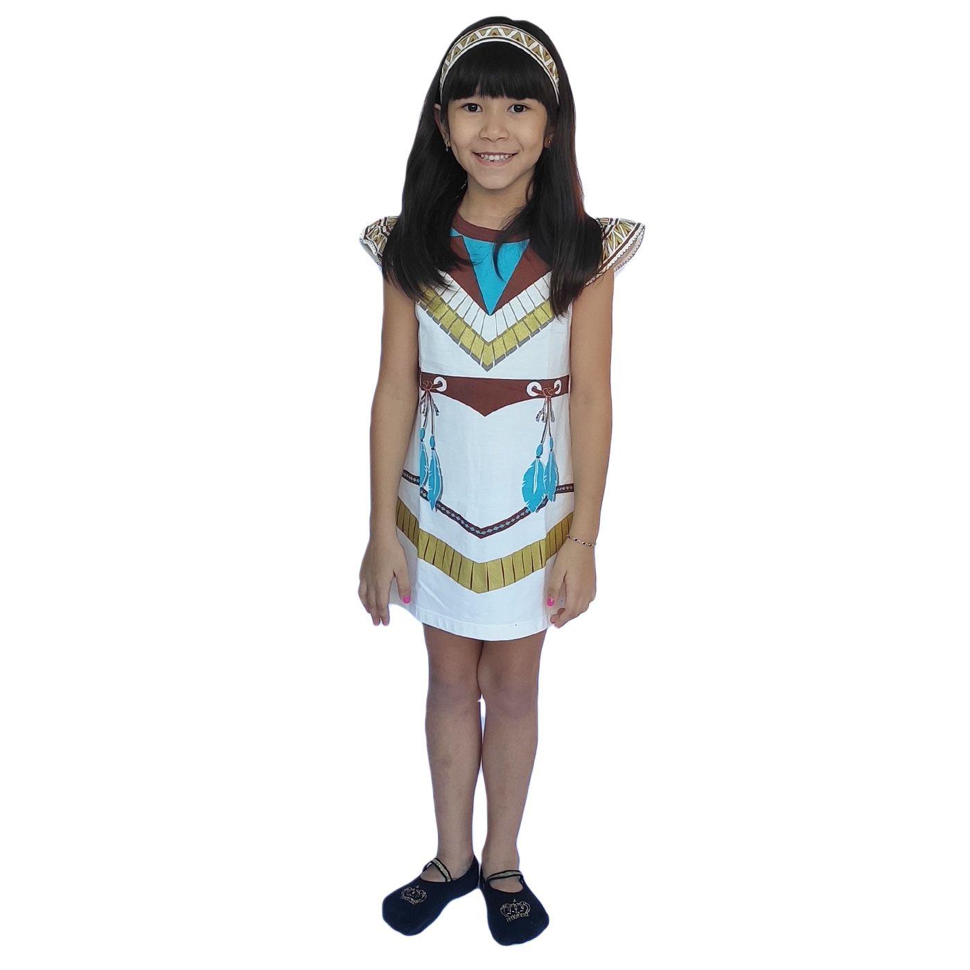 Camisola infantil pocahontas acompanha faixa cabelo