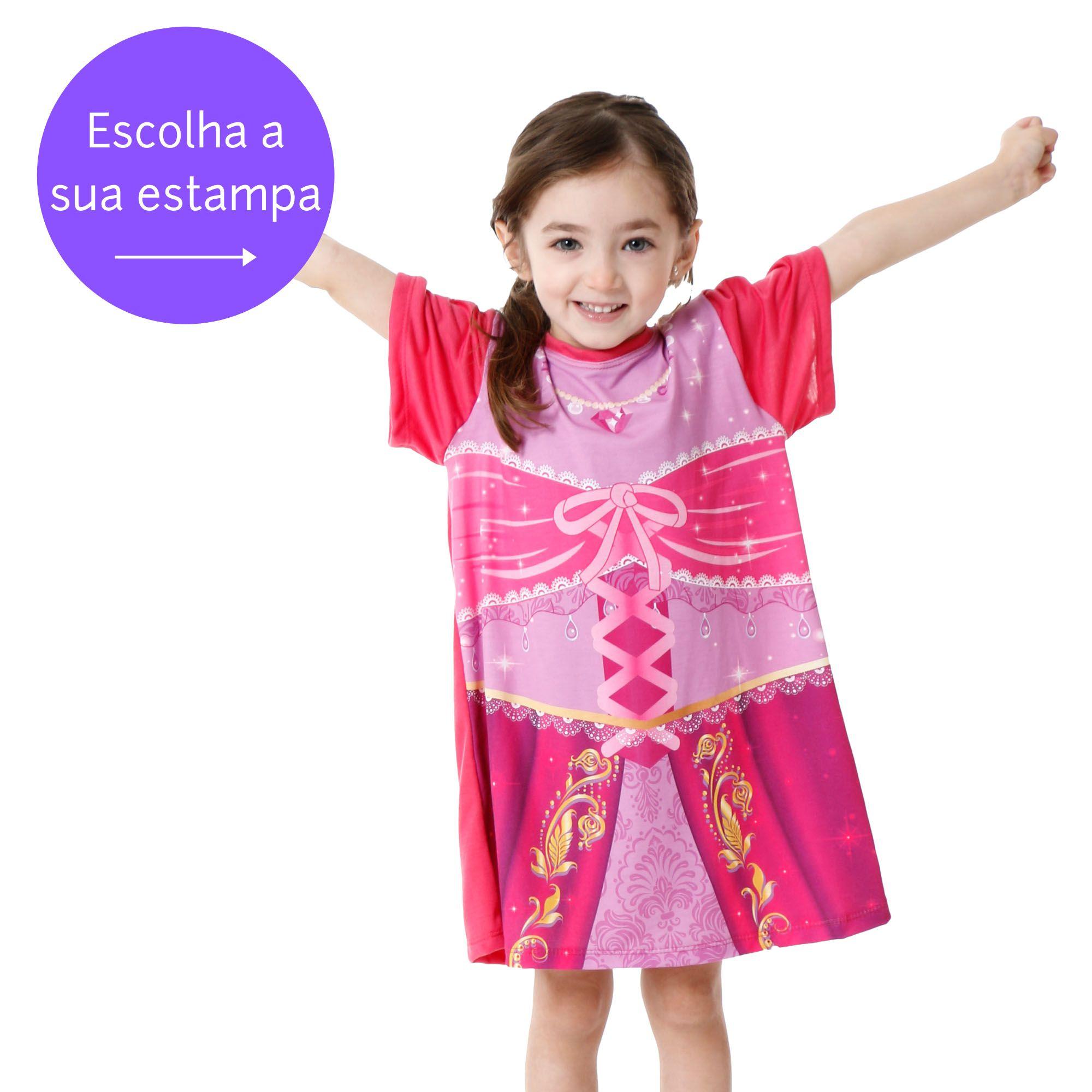 Camisola pijama infantil manga princesas bichinhos