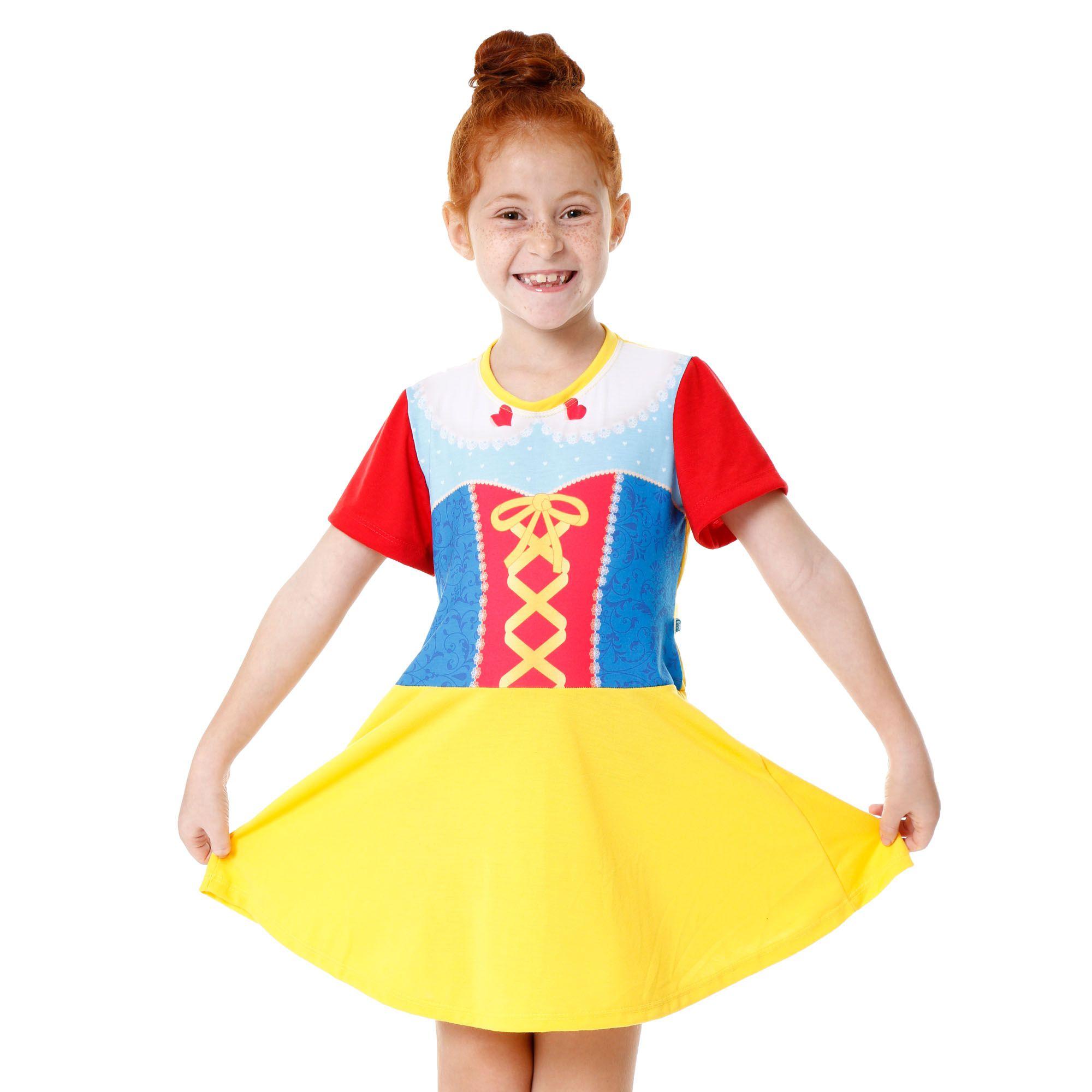 Camisola pijama manga infantil das princesas