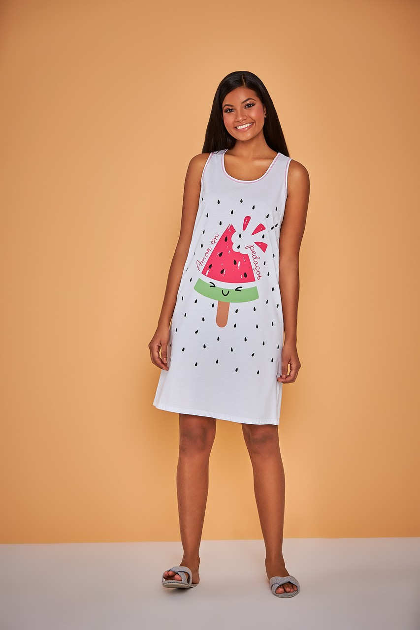 Camisola regata feminino sorvetinho de melancia fresquinho