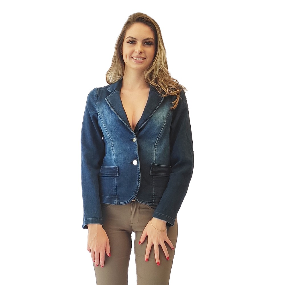 Jaqueta jeans molinho modelo social