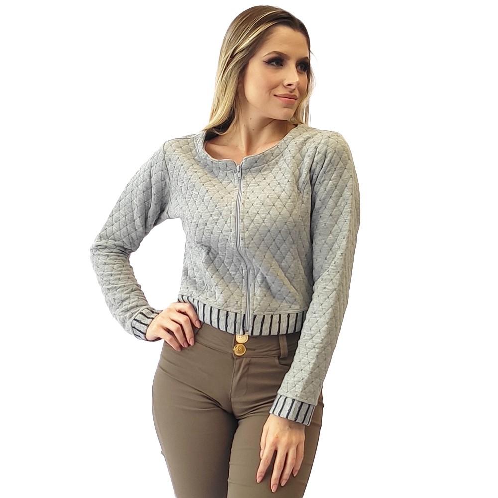 Casaco zíper mesclá jaqueta cropped estilosa estilosa