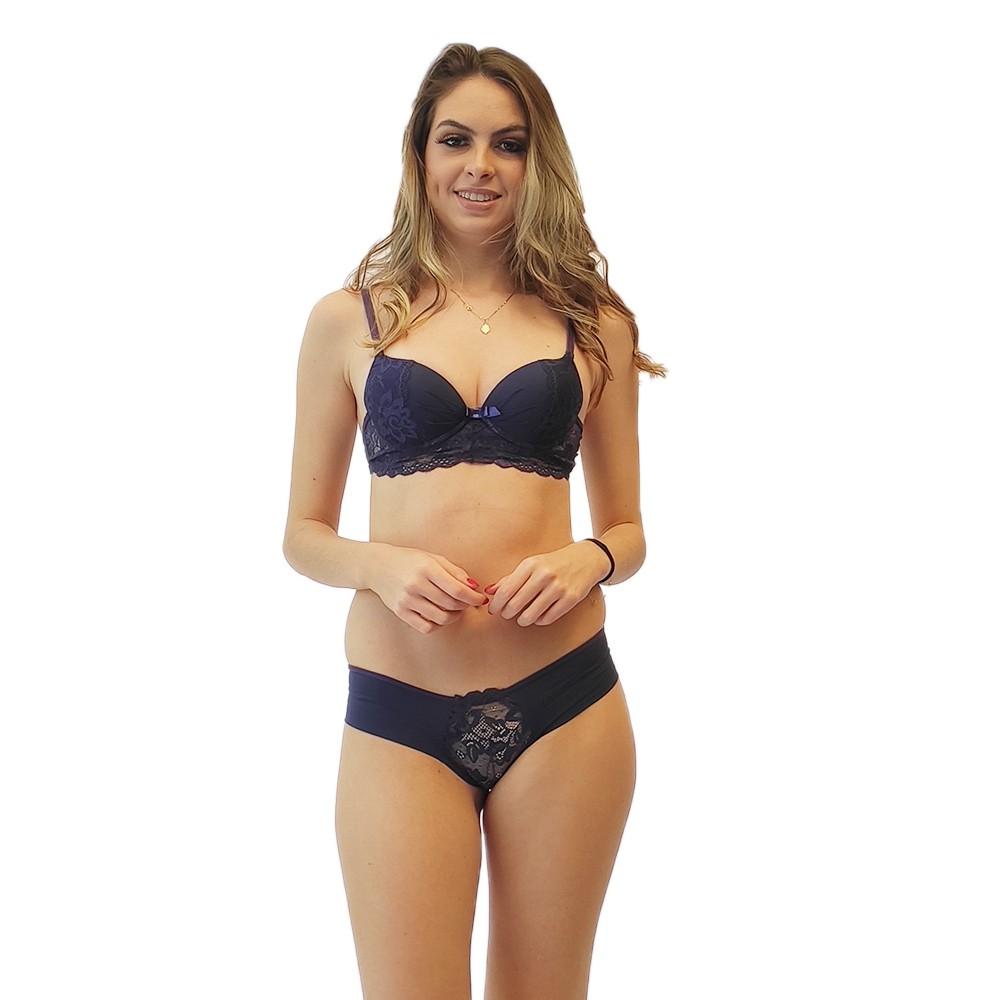 Conjunto calcinha lateral grossa cintura média sutiã rendado