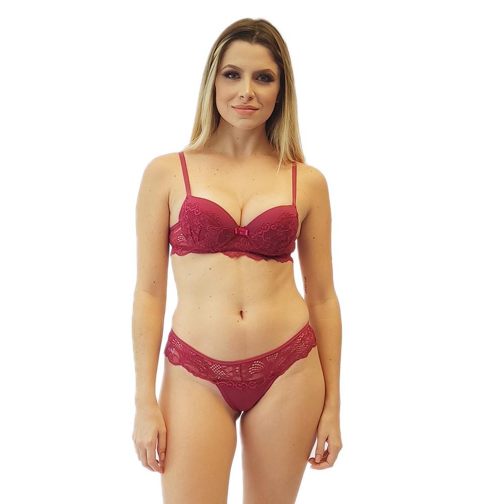 Conjunto renda calcinha cintura média lingerie sutiã push up