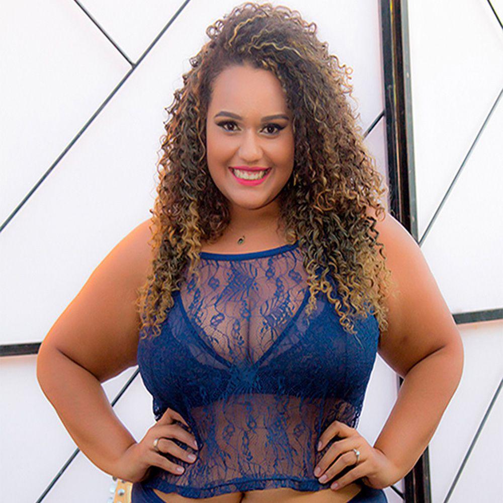 Cropped plus size renda blusinha alcinha sensual