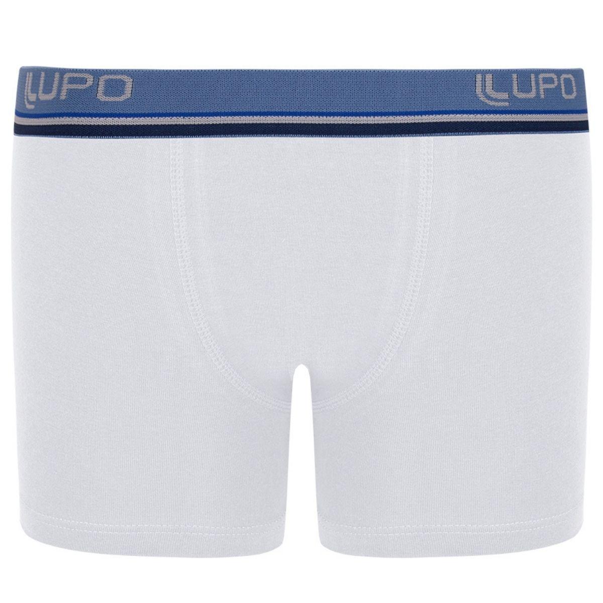 Kit 2 cuecas boxer infantil algodão com elastano básica lupo