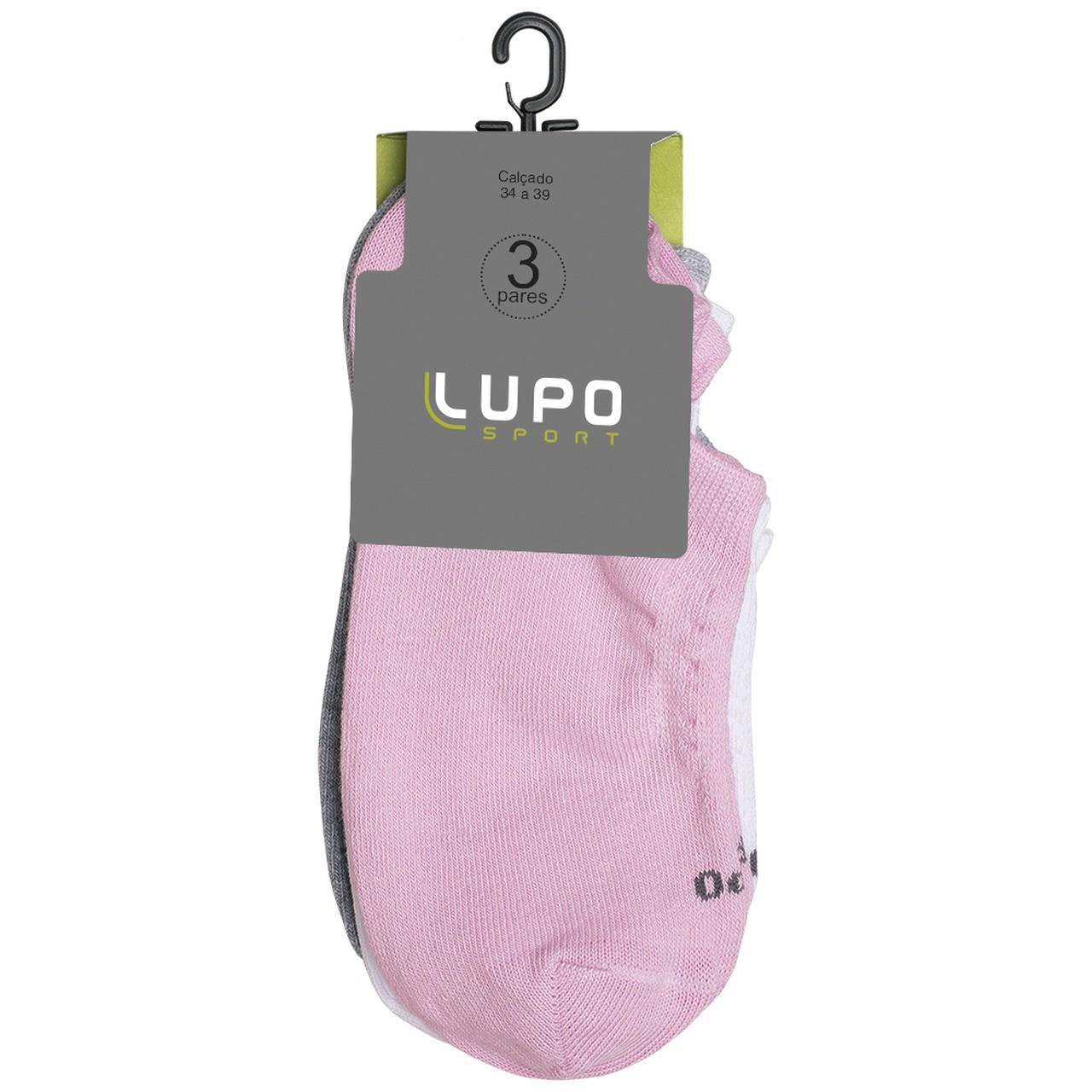Kit 3 pares de meia soquete adulto feminino lupo 03271-089