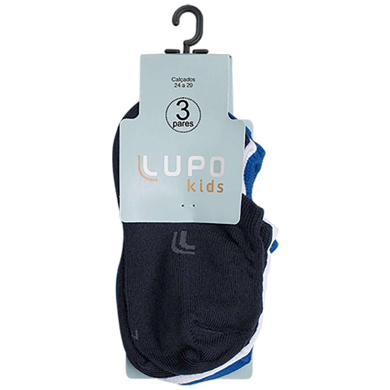 Kit meia infantil sapatilha 3 pares confortável cores lupo