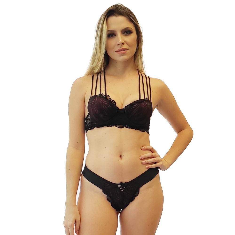 Lingerie conjunto preto sensual sutiã alça de tiras calcinha