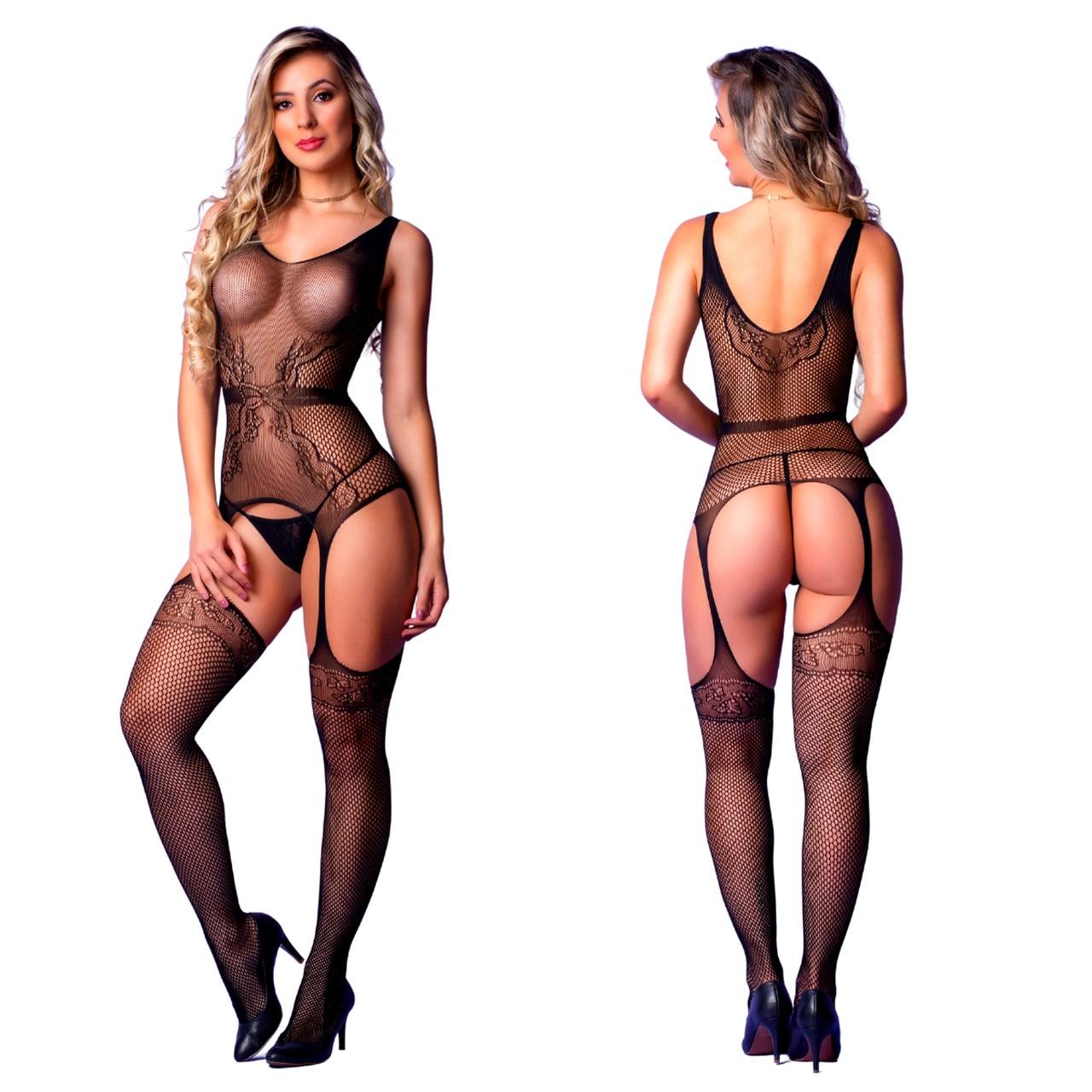 Macacão alças sedutor feminino sexy arrastão rendas
