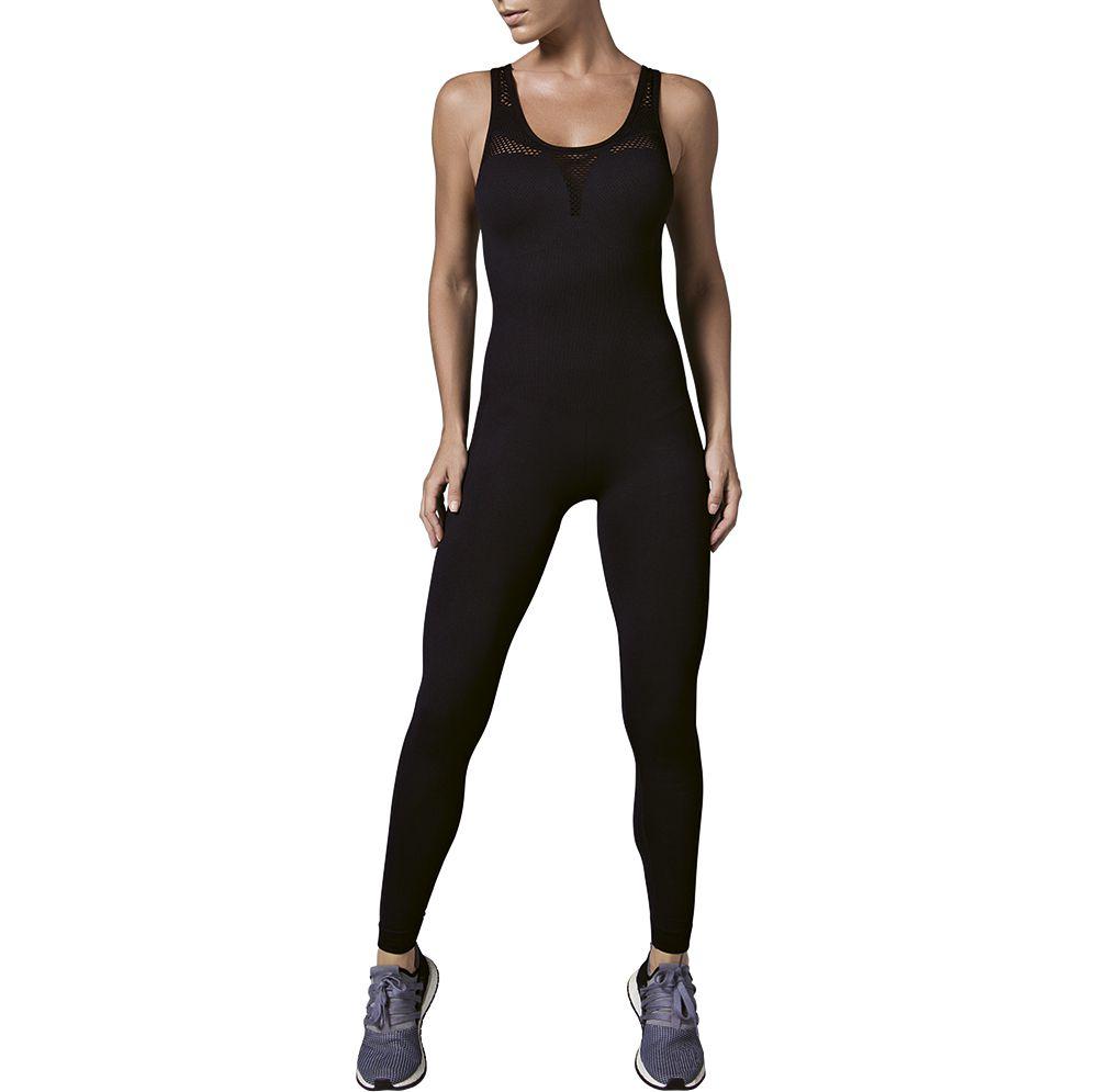 Macacão longo arrastado academia legging fitness feminino
