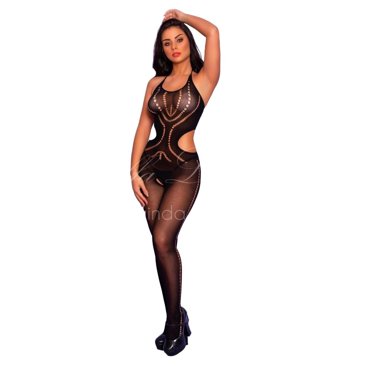 Bodystocking macacão transparente rede sexy arrastão sensual