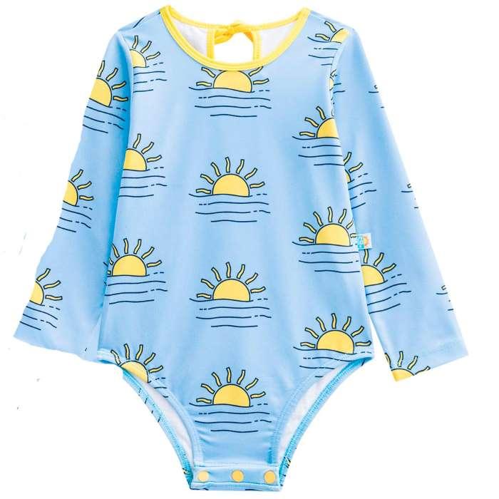 Maiô bebé manga longa com proteção sola por do sol azul