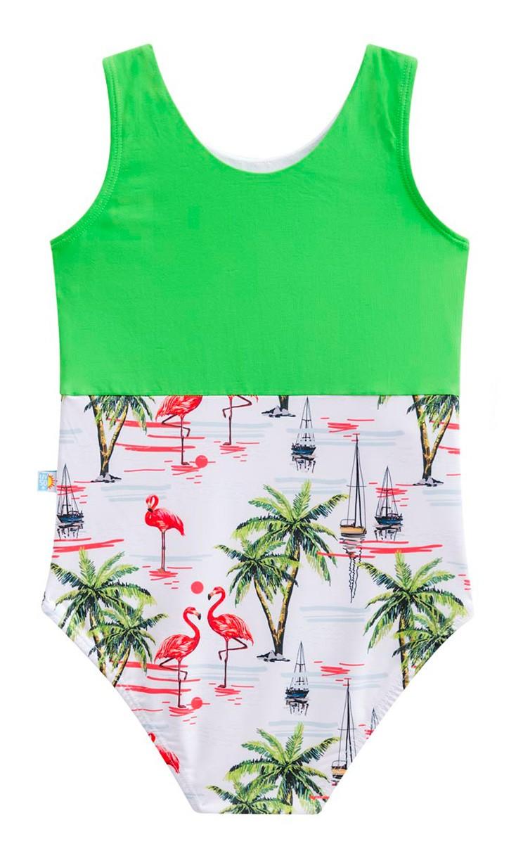 Maiô flamingo blusinha  laço duplo proteção solar verde