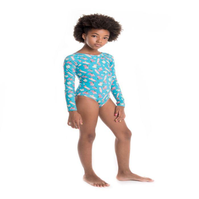 Maiô infantil manga longa proteção solar bumbum larguinho