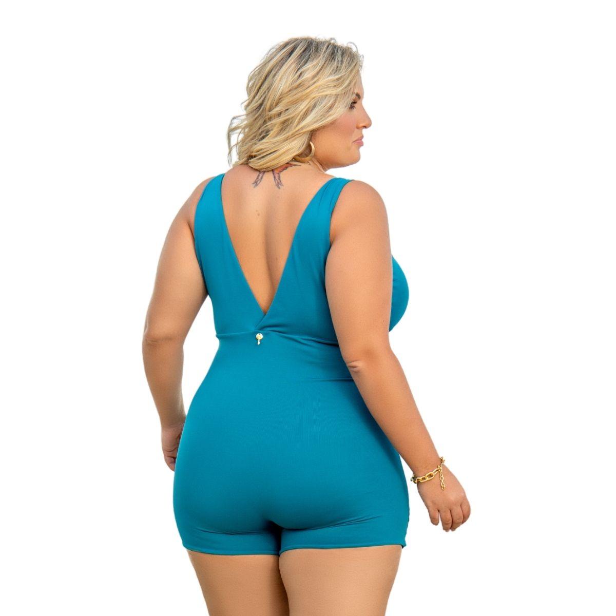 Maiô macaquinho perninha plus size c/ bojo decote costas