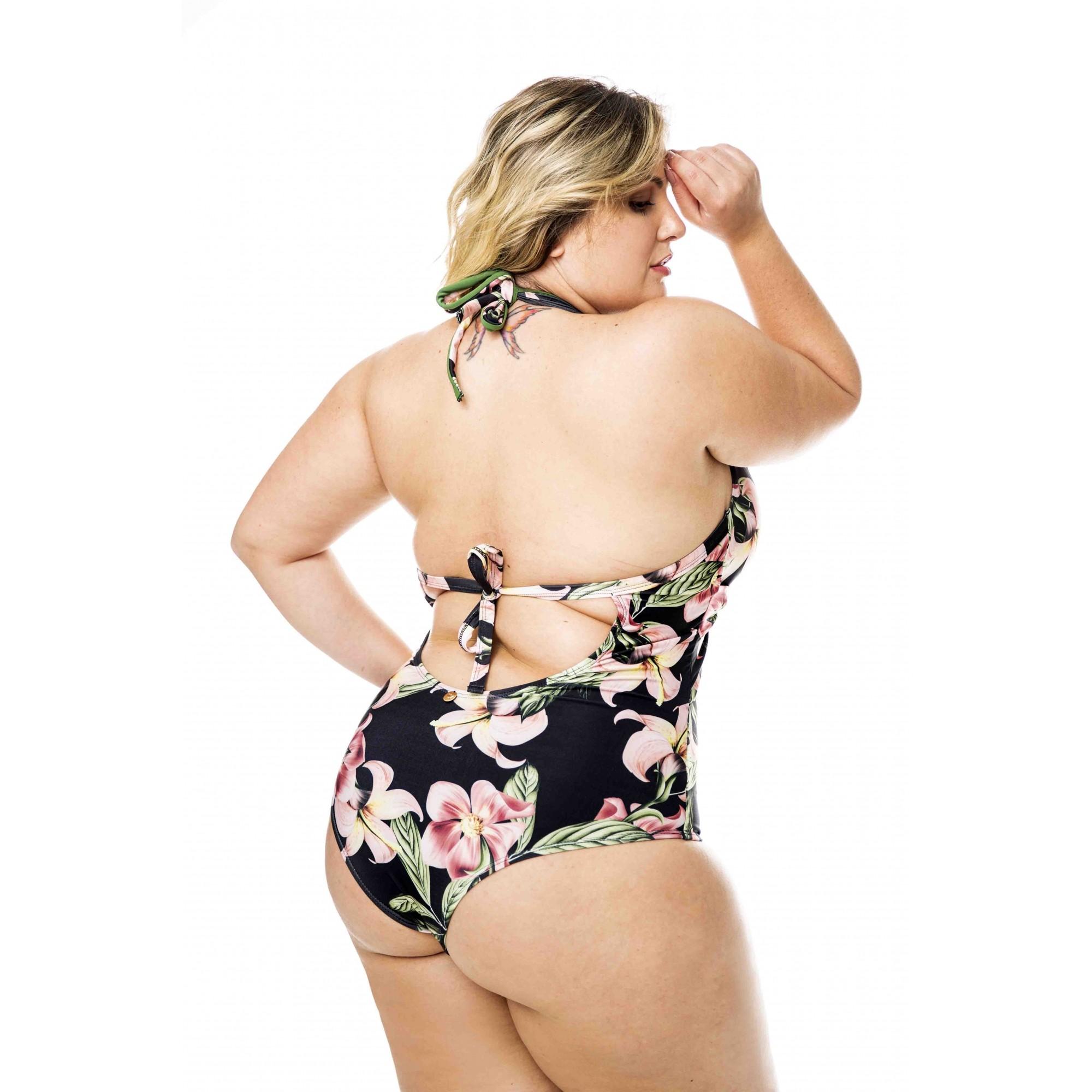 Maiô transpassado sem bojo costas livre plus size verão