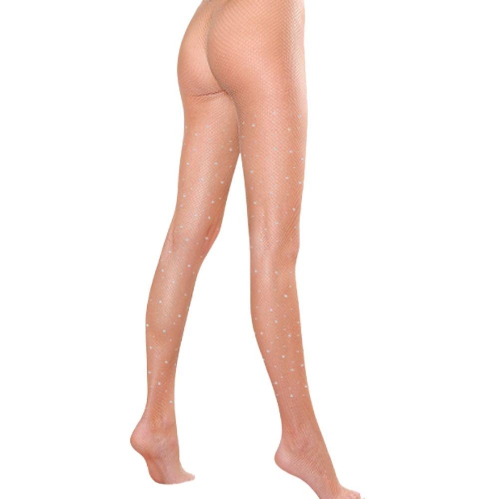 Meia calça arrastão strass cor nude beyonce