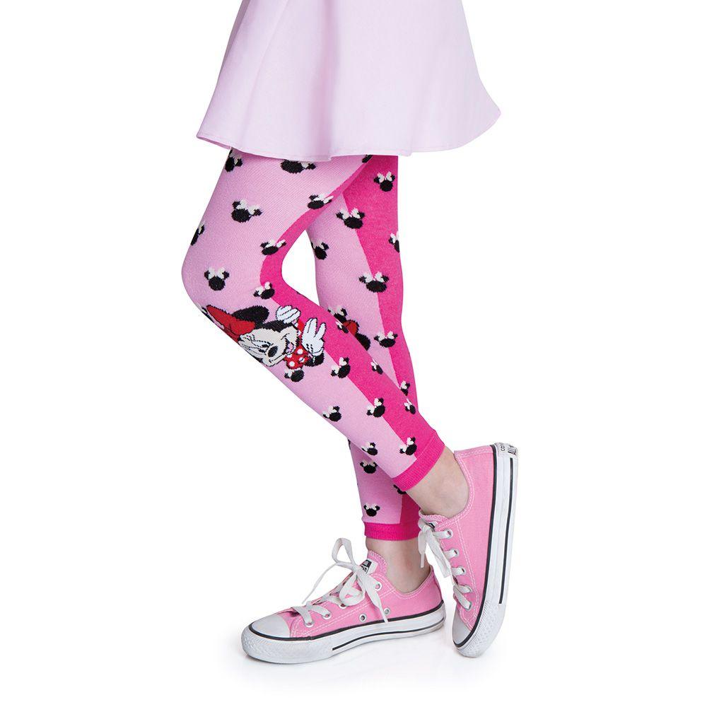 Meia calça legging infantil minnie rosa lobinha lupo