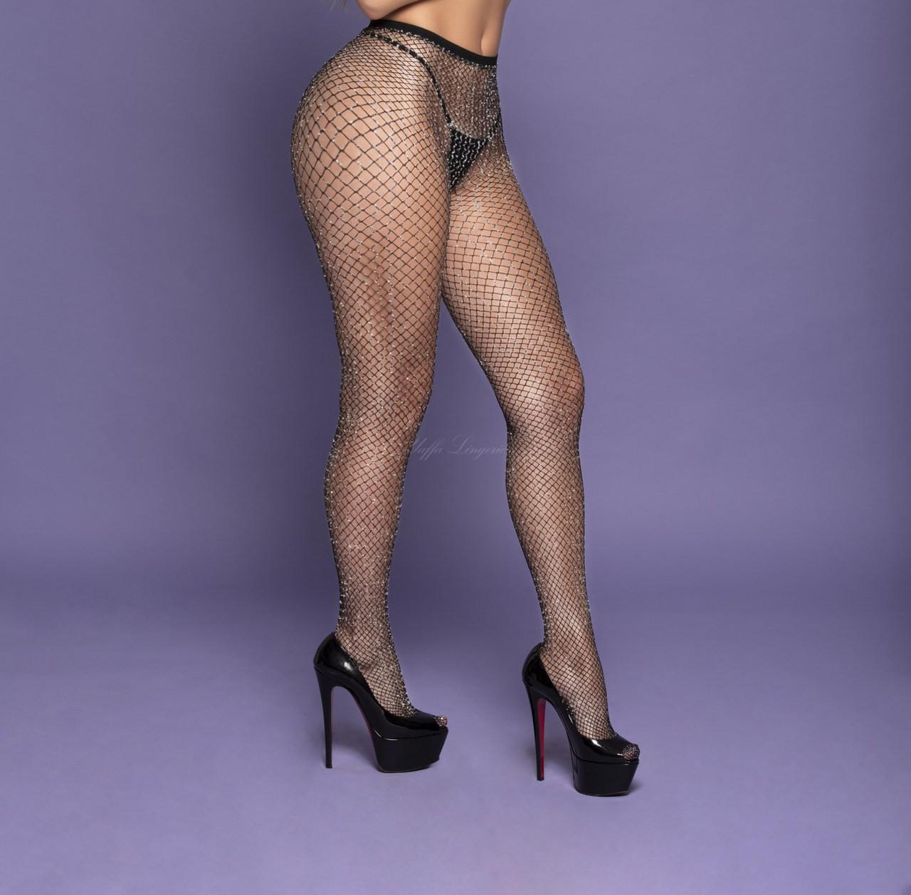 Meia calça sexy arrastão com lurex look fios com brilho
