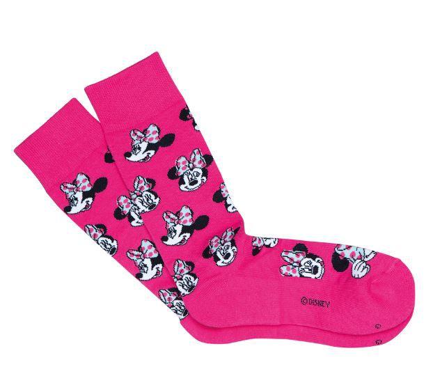 Meia minnie cano alto pink 7/8 disney feminina lupo urban