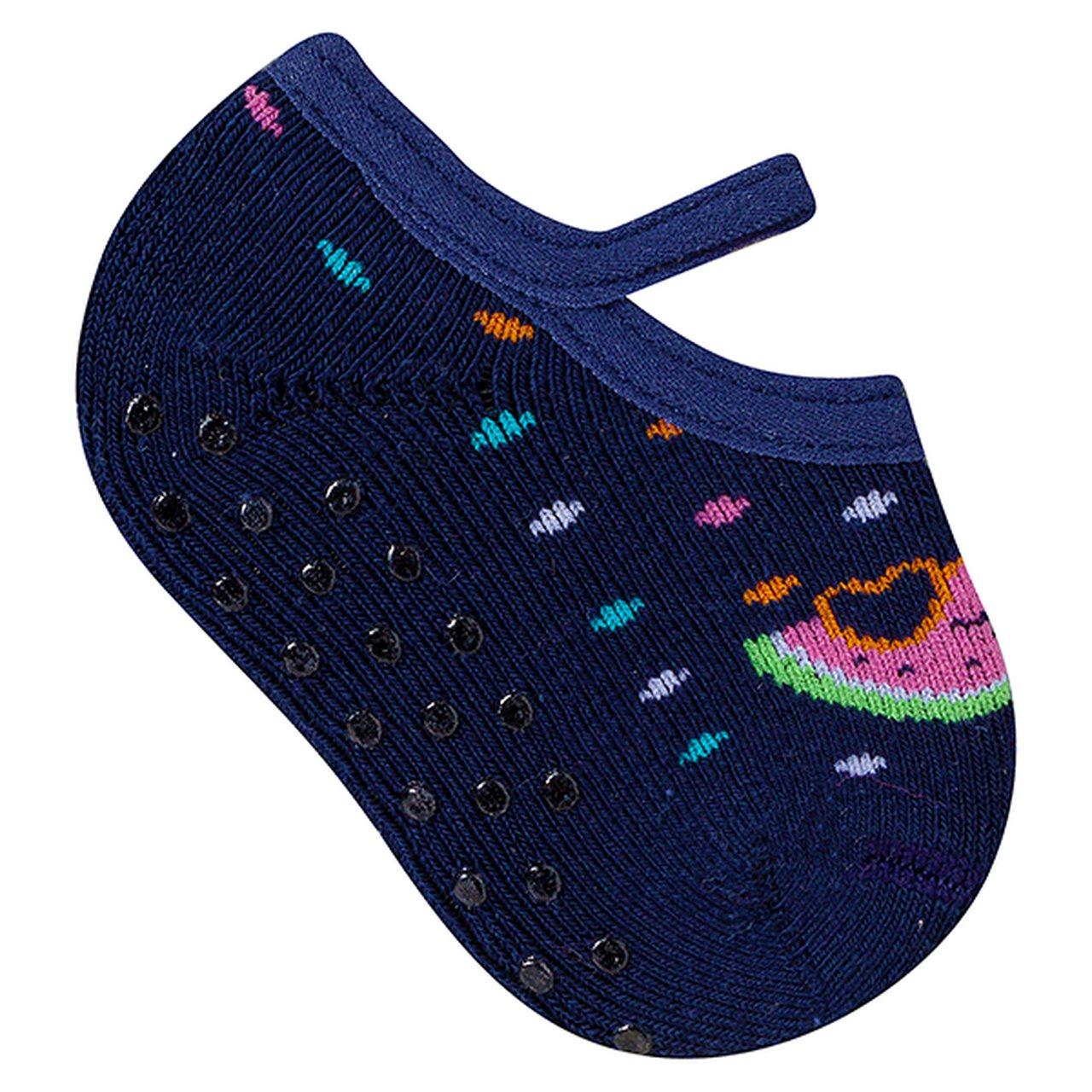 Meia sapatilha antiderrapante bebê coloridas