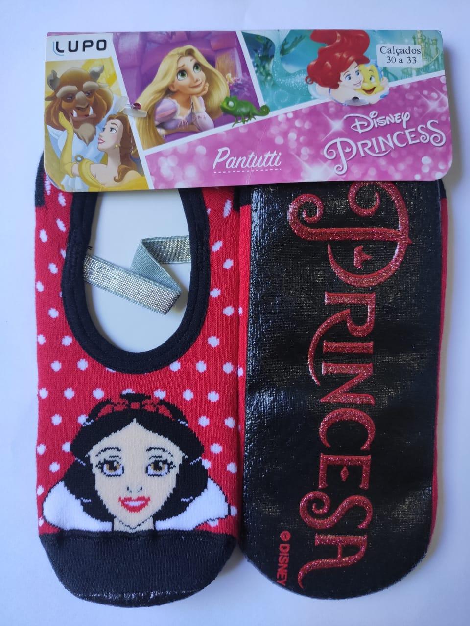 Meia sapatilha emborrachada antiderrapante menina princesas