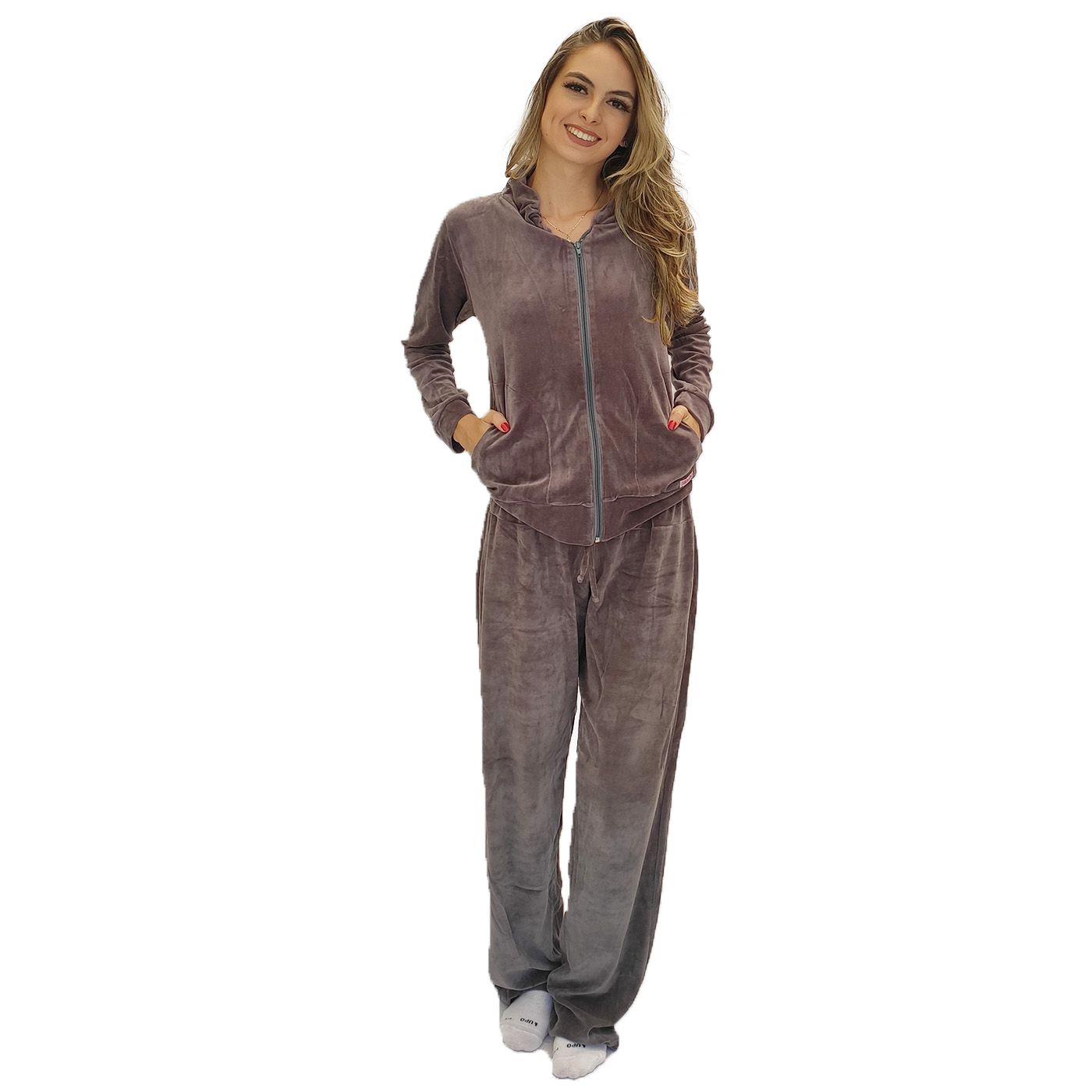 Pijama abrigo feminino plush ziper sem capuz