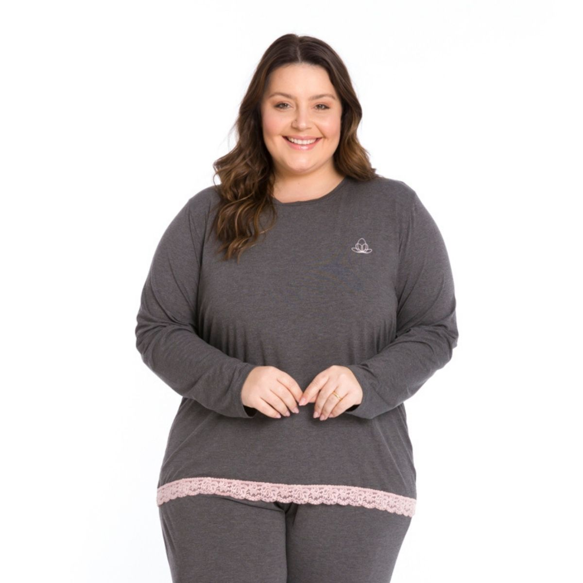Pijama adulto feminino algodão chumbo plus size