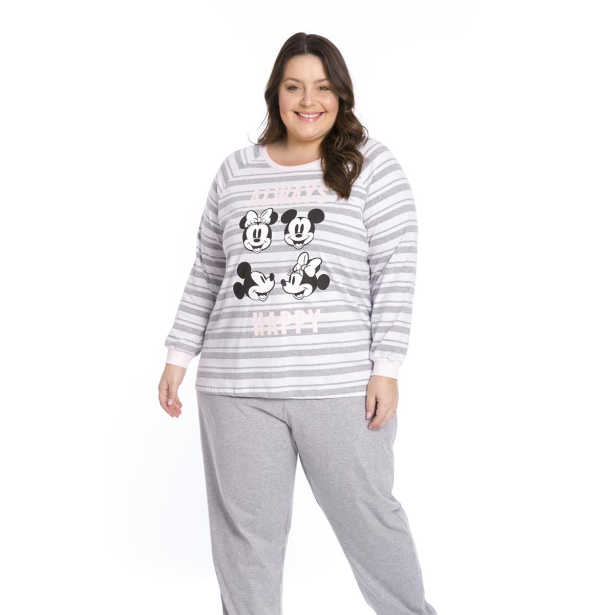 Pijama adulto feminino algodão disney always happy minnie