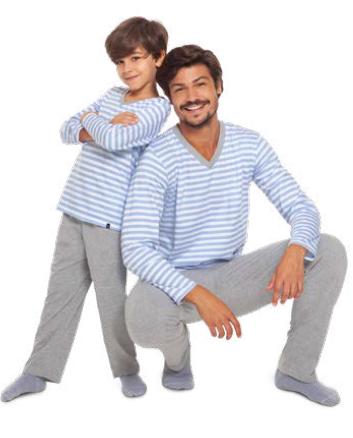 Pijama adulto masculino listras inverno pai algodão lupo