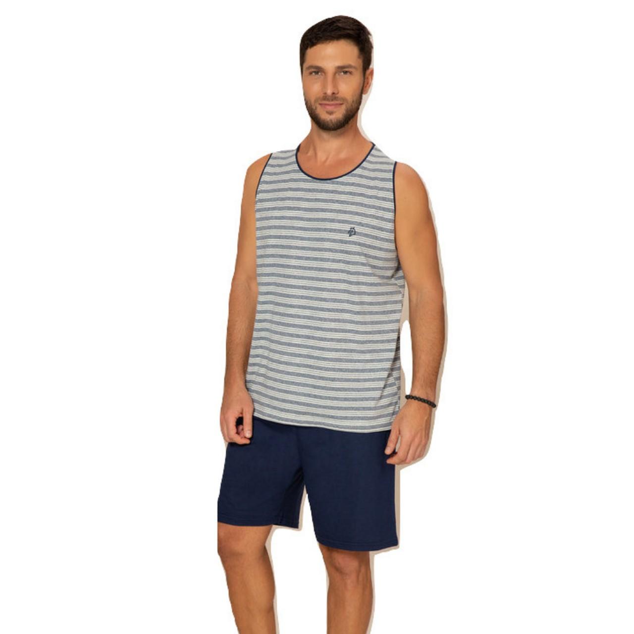 Pijama adulto masculino verão blusa regata bermuda