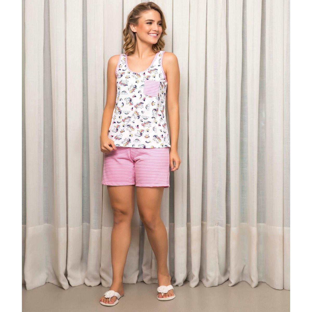 Pijama alcinha unicórnio feminino micro short algodão