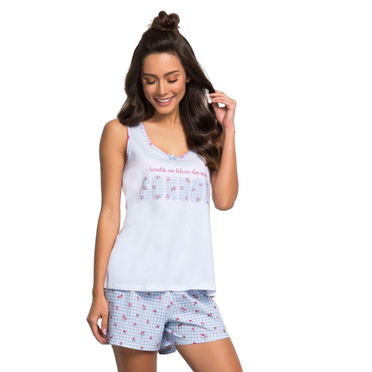 Pijama algodão feminino regata coleção sonho florzinha short