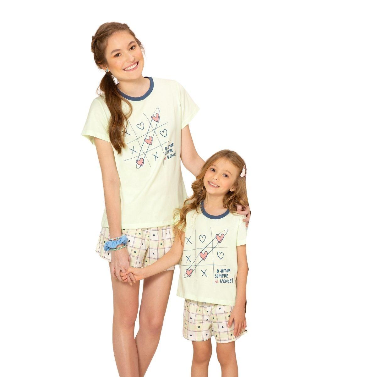 Pijama algodão infantil menina veste até 14 anos short doll