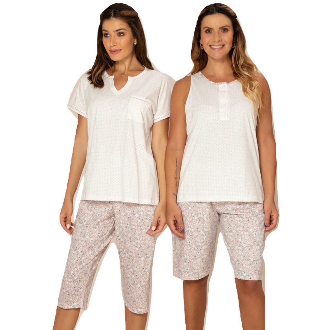 Pijama meia estação de algodão blusa c/ manga calça capri