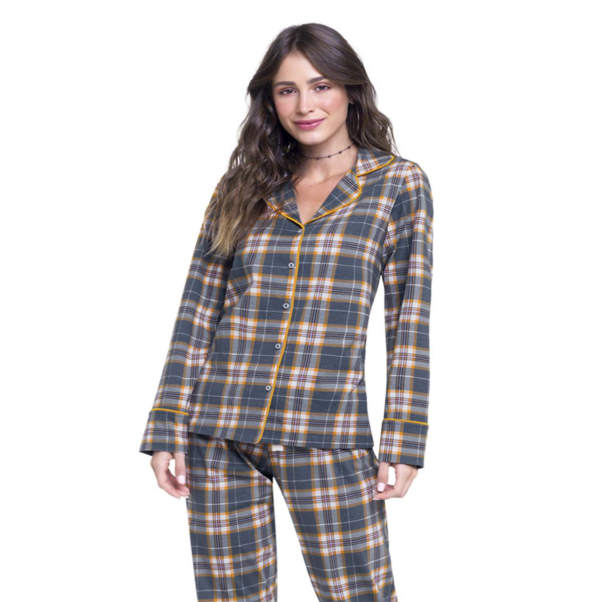 Pijama americano feminino botão xadrez mãe frio