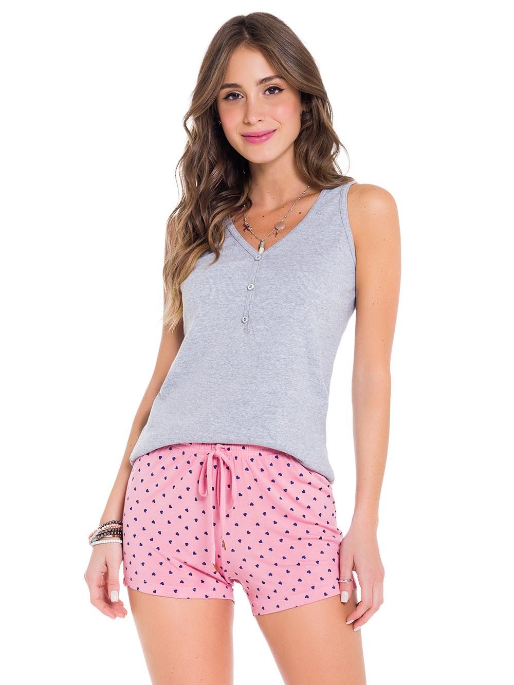 Pijama baby doll curto feminino regata c/ botão short poá