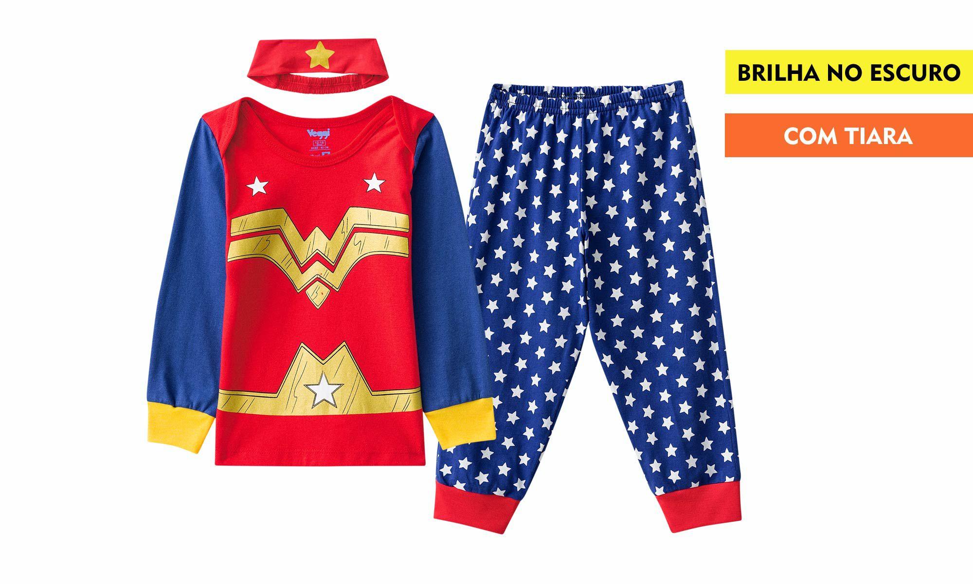Pijama criança feminino mulher maravilha inverno kids veggi