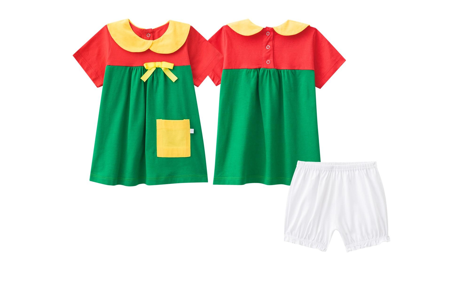 Pijama bebe chiquinha bolso lateral short curto verão