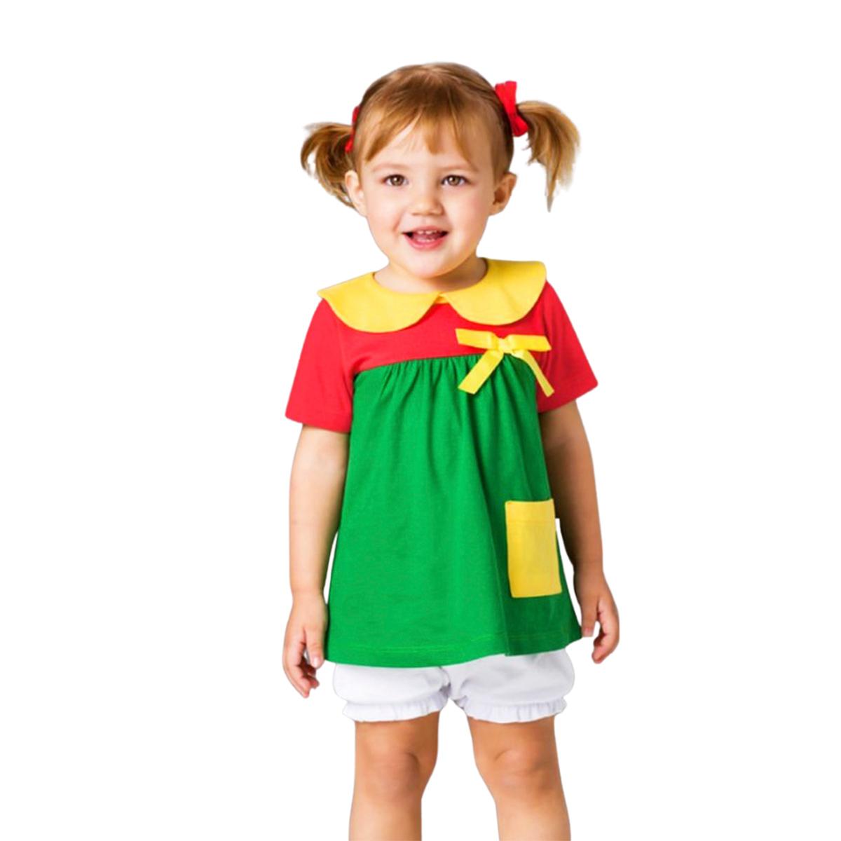Pijama bebê chiquinha bolso lateral short curto verão