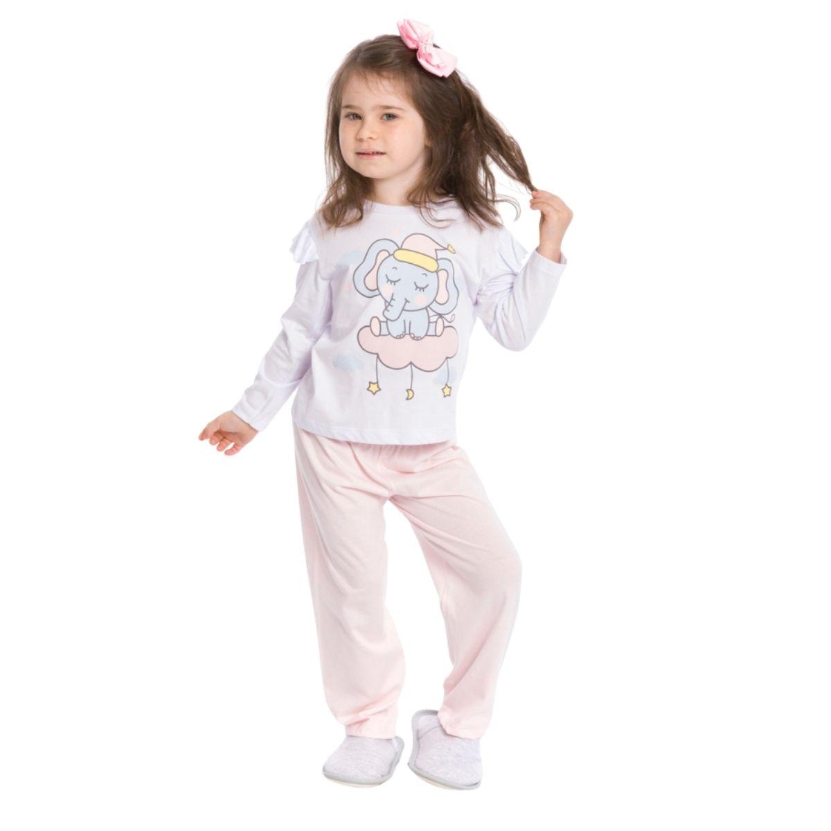 Pijama bebê menina algodão frio bichinho rosa
