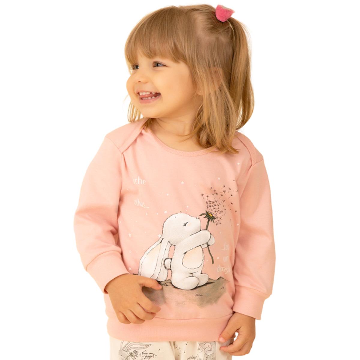 Pijama bebê menina rosa bichinho coelho filha algodão