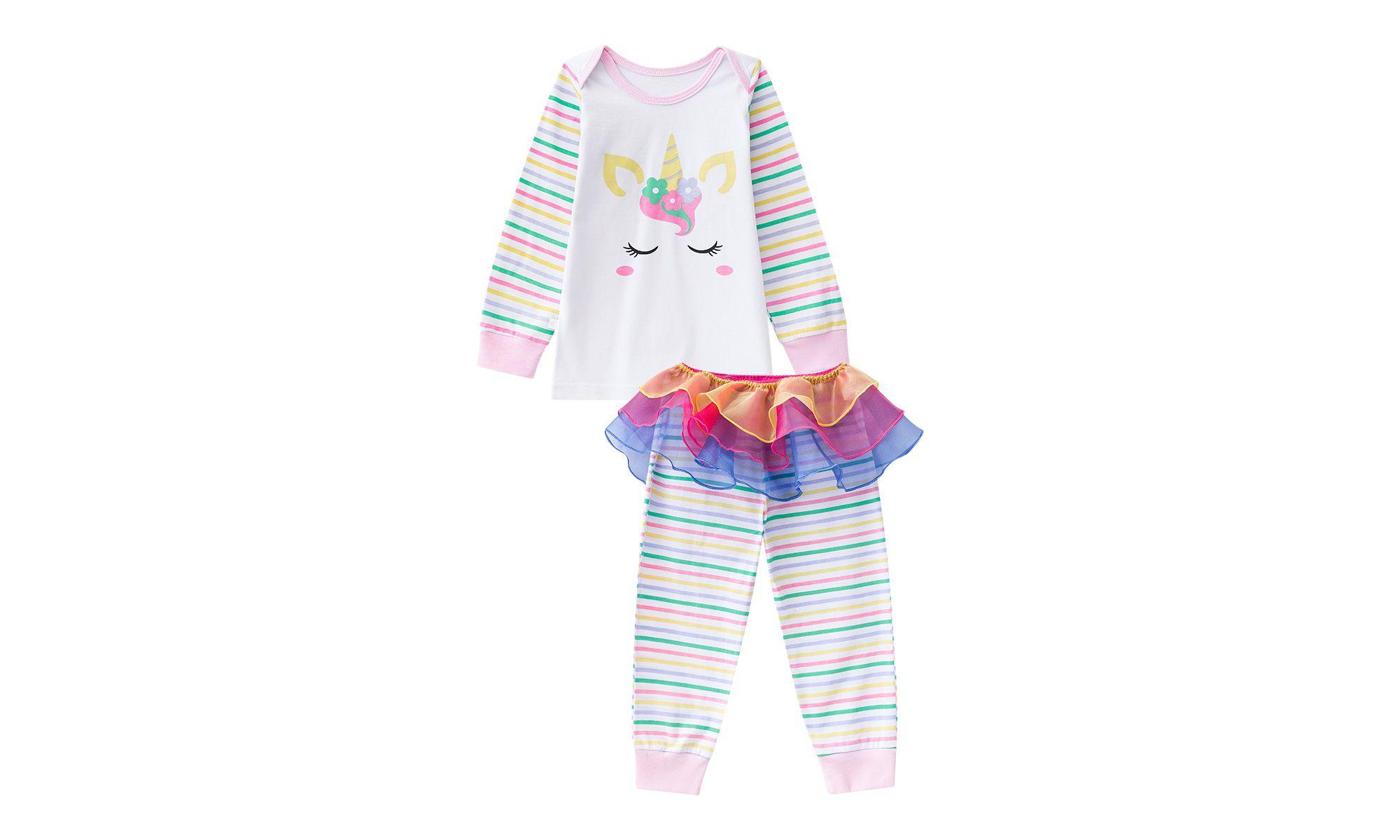 Pijama bebê menina unicórnio calça com sainha colorida