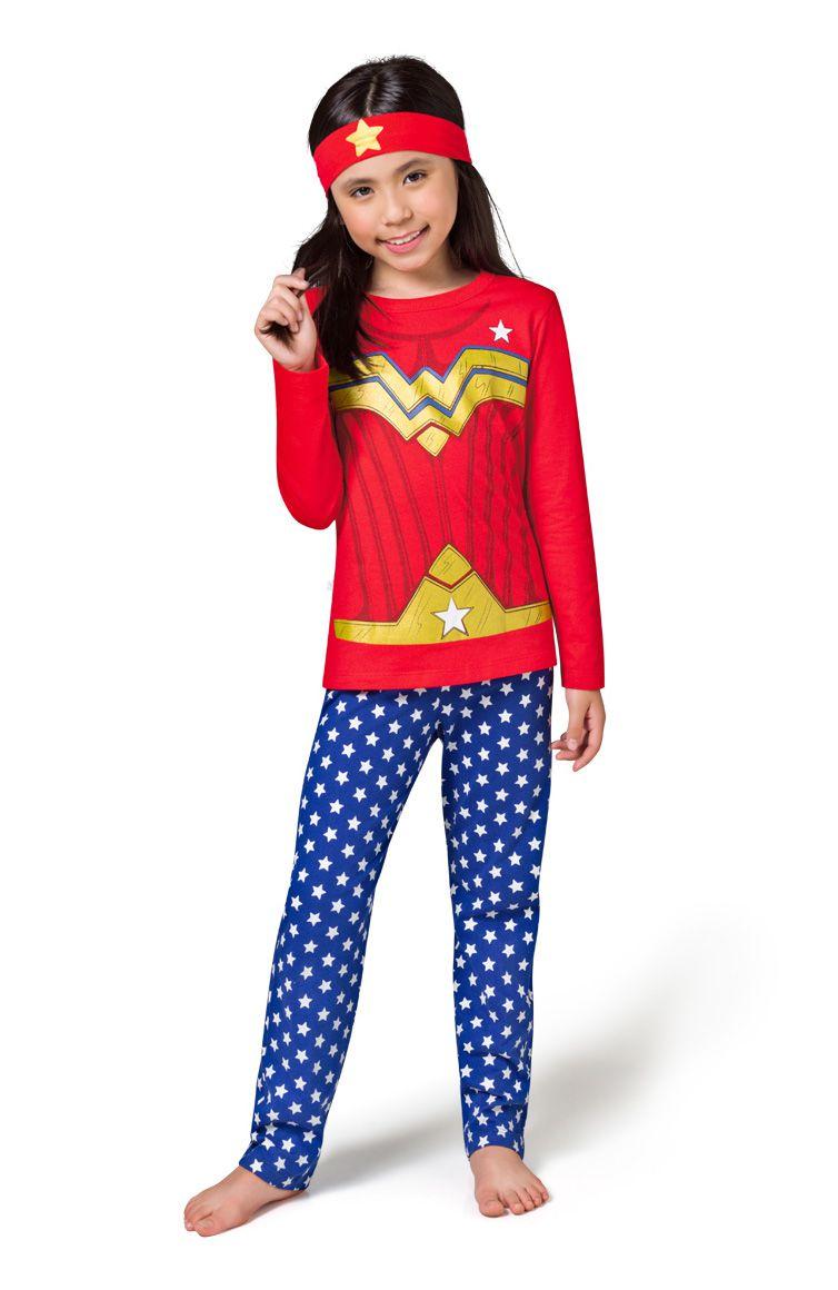 Pijama fantasia menina mulher maravilha calça estrelinha