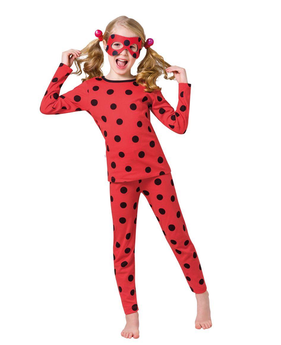 Pijama criança menina ladybug inverno com marcara veggi