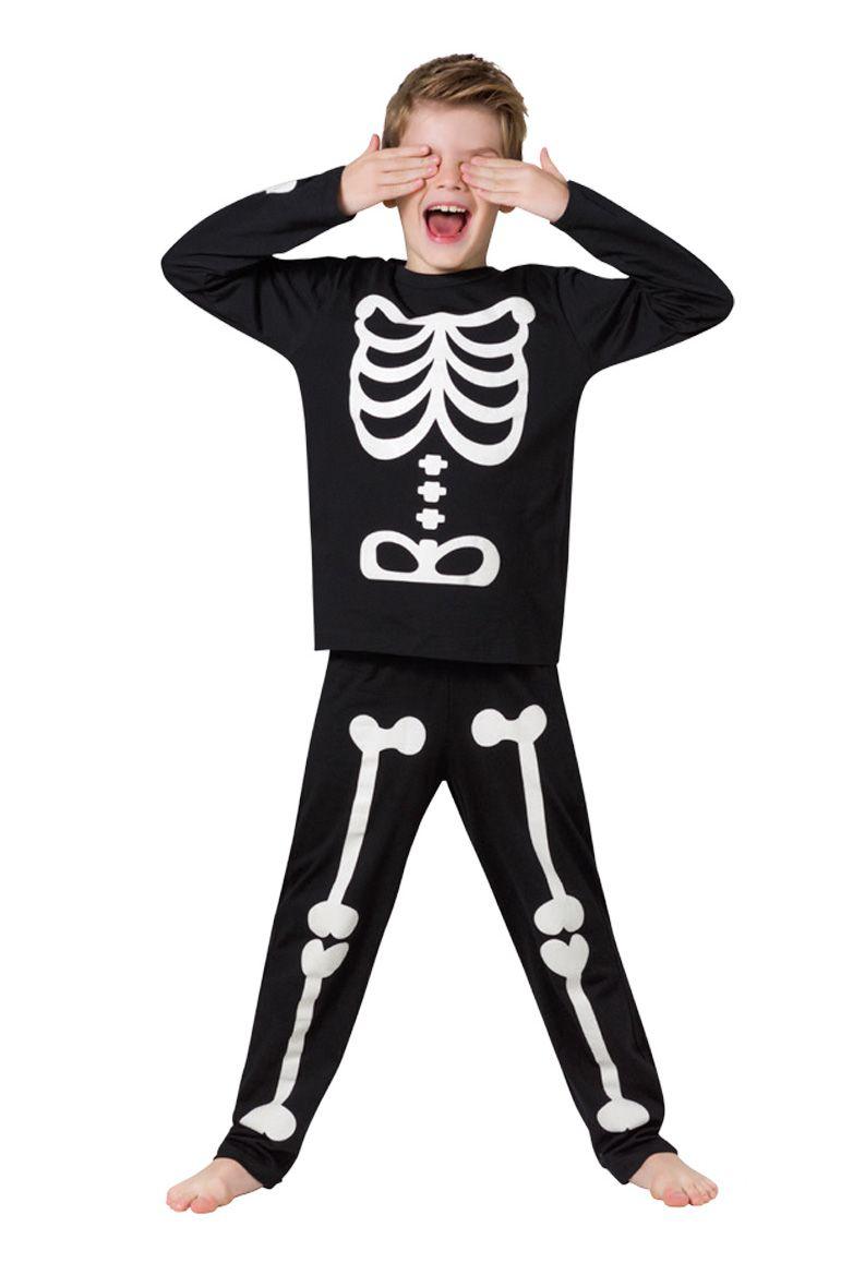 Pijama criança menino esqueleto inverno veggi